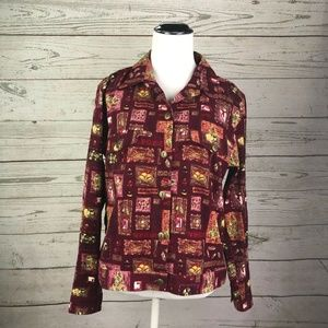 Christopher & Banks Maroon Button Up Shirt Jacket